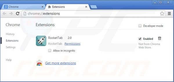 Removing Rocket tab ads from Google Chrome step 2