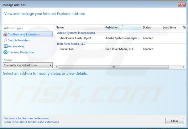 Removing rocket tab ads from Internet Explorer step 2