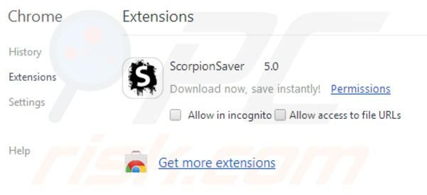 Scorpion Saver removal from Google Chrome extensions step 2