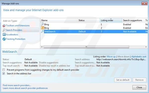 Removing websearch.searchbomb.info from Internet Explorer default search engine settings