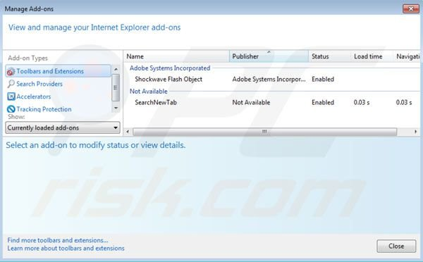 websearch.searchbomb.info removal from Internet Explorer extensions