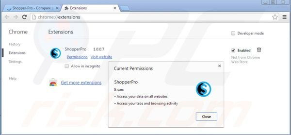 Removing Shopper Pro from Google Chrome step 2