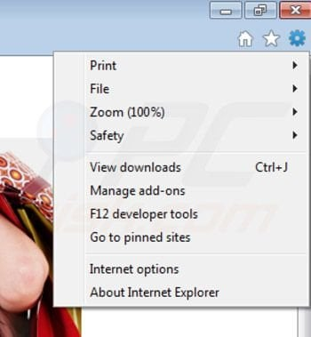 Removing Shopper Pro from Internet Explorer extensions step 1