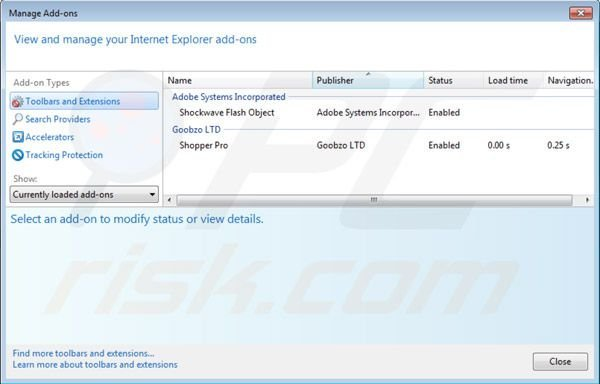 Removing Shopper Pro from Internet Explorer extensions step 2