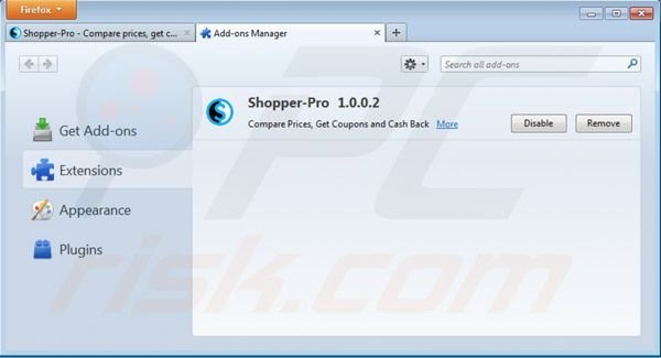 Removing Shopper pro from Mozilla Firefox step 2