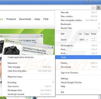 Removing Shopping suggestion from Google Chrome step 1