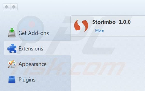 Removing Storimbo ads from Mozilla Firefox step 2