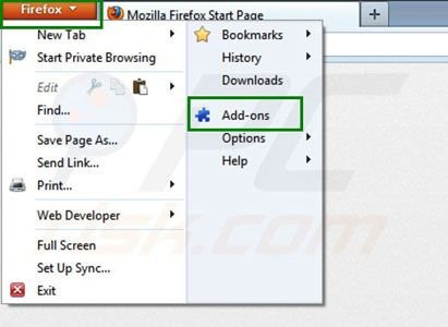 Swiftbrowse removal from Mozilla Firefox step 1