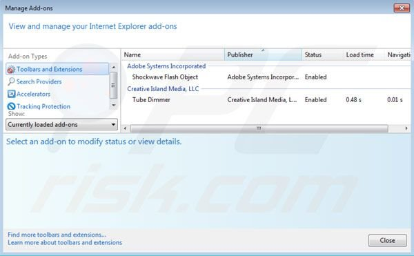 Removing Tube Dimmer from Internet Explorer extensions step 2