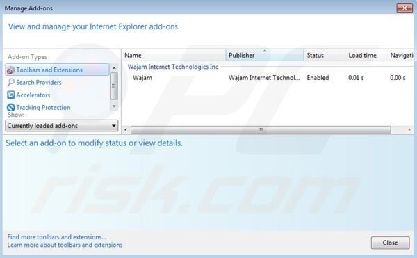 Removing Wajam ads from Internet Explorer step 2