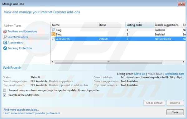Websearch.search-guide.info removal from Internet Explorer default search engine settings