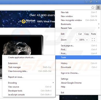 Removing Websteroids from Google Chrome step 1