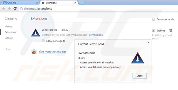Removing Websteroids from Google Chrome step 2
