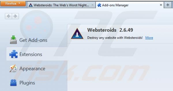 Removing Websteroids from Mozilla Firefox step 2