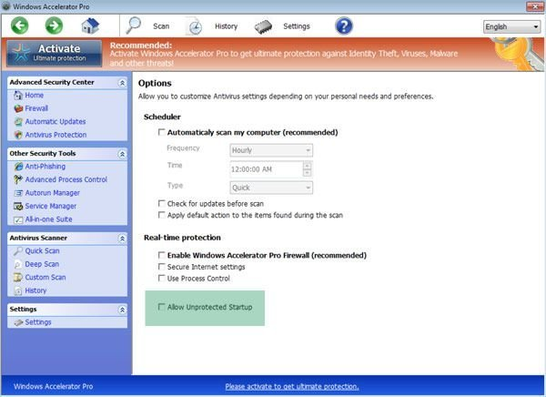 Windows Accelerator Pro unprotected startup
