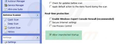 Windows Efficiency Console enabling unprotected startup step 1
