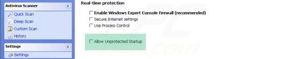Windows Expert Console unprotected Startup