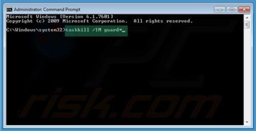 Windows Warding Module removal using command prompt step 2
