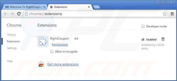 Remove right coupon google chrome