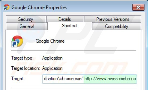 Removing awesomehp.com from Google Chrome shortcut target step 2