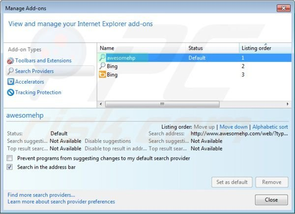 Removing awesomehp.com from Internet Explorer default search engine settings