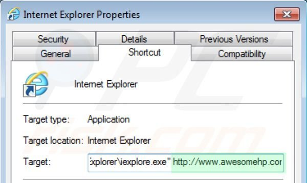 Removing awesomehp.com from Internet Explorer shortcut target step 2
