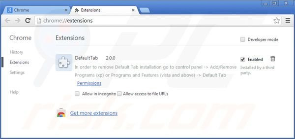 Removing default tab from Google Chrome extensions