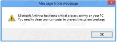 Fake Microsoft Antivirus pop-up