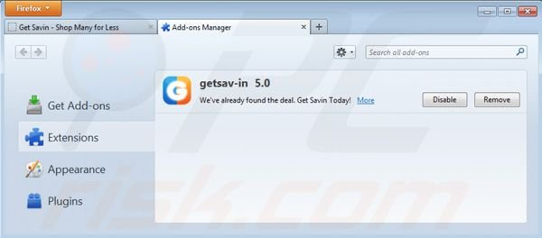 Removing getsav-in ads from Mozilla Firefox step 2