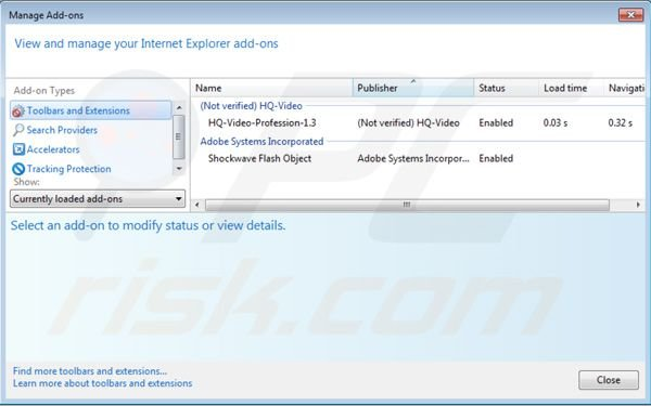 Removing HQ Video Professional from Internet Explorer step 2