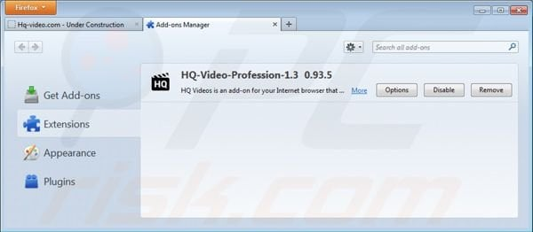 Removing HQ Video Professional from Mozilla Firefox step 2