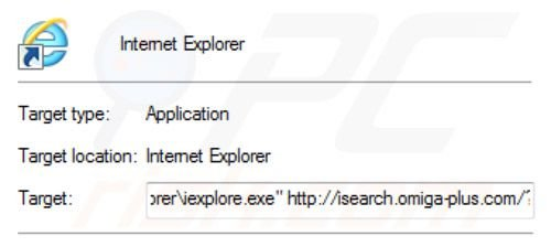 Removing inspsearch.com redirect virus from Internet Explorer shortcut target step 2