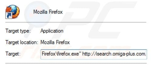 Removing inspsearch.com redirect virus from Mozilla Firefox shortcut target step 2