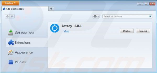 Removing Jotzey from Mozilla Firefox step 2