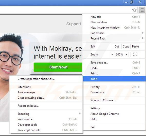 Removing Mokiray from Google Chrome step 1