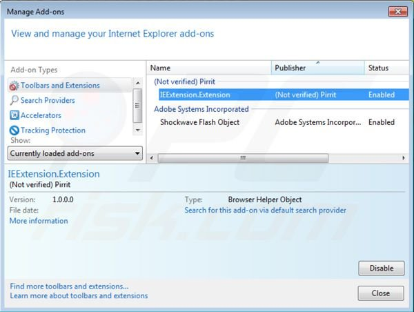 Removing Pirrit Suggestor from Internet Explorer step 2