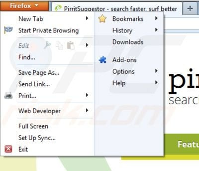 Removing Pirrit Suggestor from Mozilla Firefox step 1