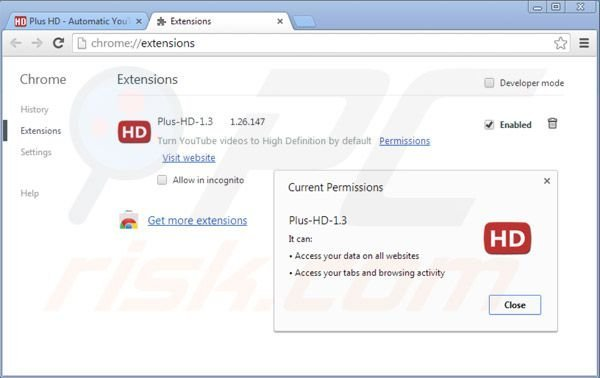 Removing plus-hd ads from Google Chrome step 2