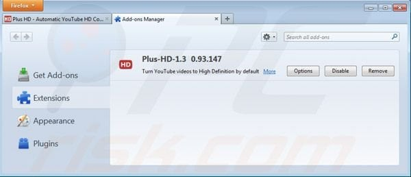 Removing plus-hd ads from Mozilla Firefox step 2