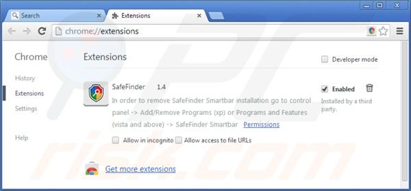 Removing isearch.safefinder.net from Google Chrome extensions