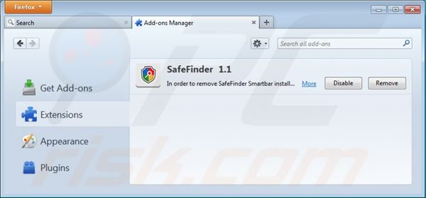 Removing isearch.safefinder.net from Mozilla Firefox extensions