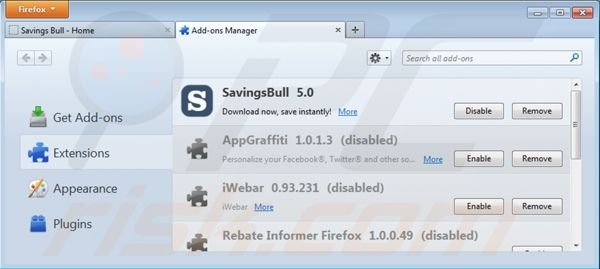 Removing Savings Bull from Mozilla Firefox step 2