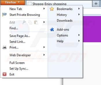 Removing Shopop from Mozilla Firefox step 1