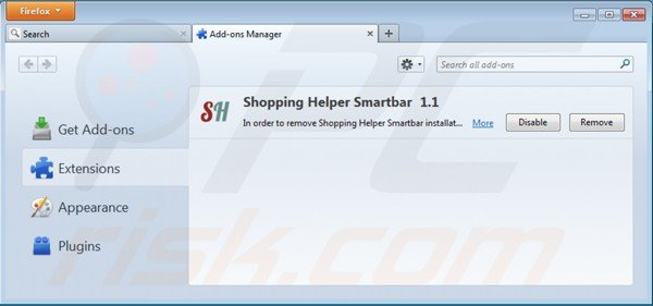 Removing shopping helper smartbar from Mozilla Firefox extensions