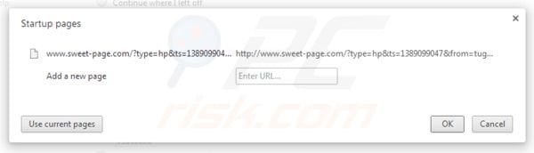 Removing sweet-page.com from Google Chrome homepage