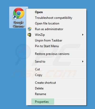 Removing sweet-page.com from Google Chrome shortcut target step 1