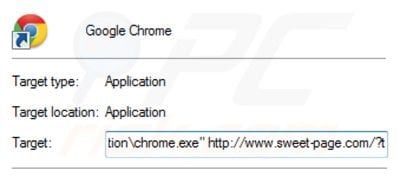 Removing sweet-page.com from Google Chrome shortcut target step 2