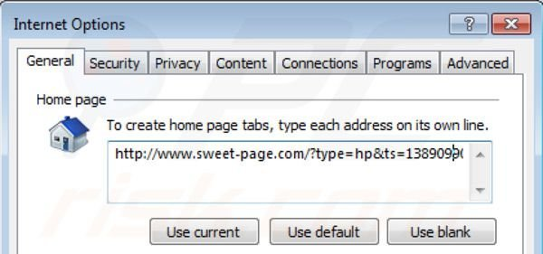 Removing sweet-page.com from Internet Explorer homepage
