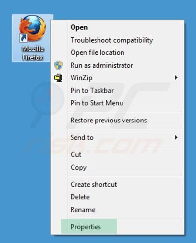 Removing sweet-page.com from Mozilla Firefox shortcut target step 1