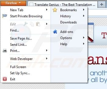 Removing Translate Genius from Mozilla Firefox extensions step 1